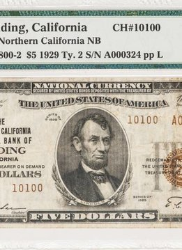 1929 Ty.2 PMG VF25 $5 Redding California Northern California National Bank Note CH#10100