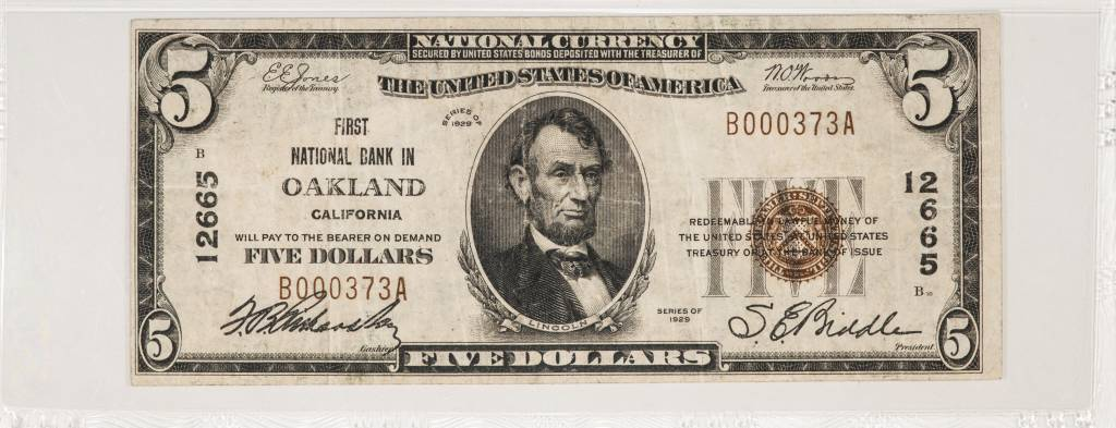 1929 Ty.2 PMG VF25 $5 Oakland California First National Bank Note CH#12665 Fr#1800-1