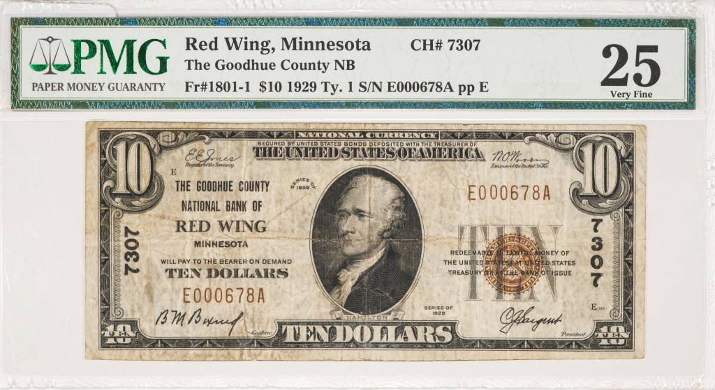 1929 Ty.1 PMG VF25 $10 Red Wing Minnesota National Bank Note CH#7307
