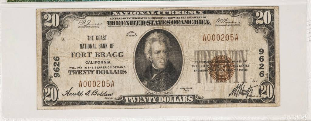 1929 Ty.1 PMG VG25 $20 Fort Bragg California National Bank Note CH#9626