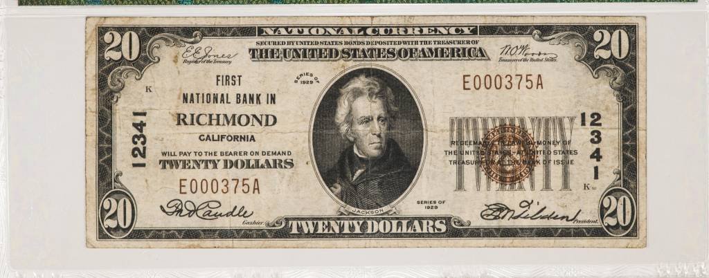 1929 Ty.1 PMG VF25 $20 Richmond California Naitonal Bank Note CH#12341