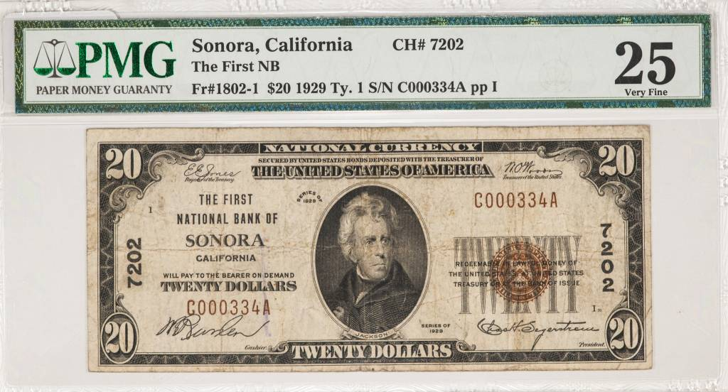 1929 Ty.1 PMG VF25 Sonora California National Bank Note CH#7202