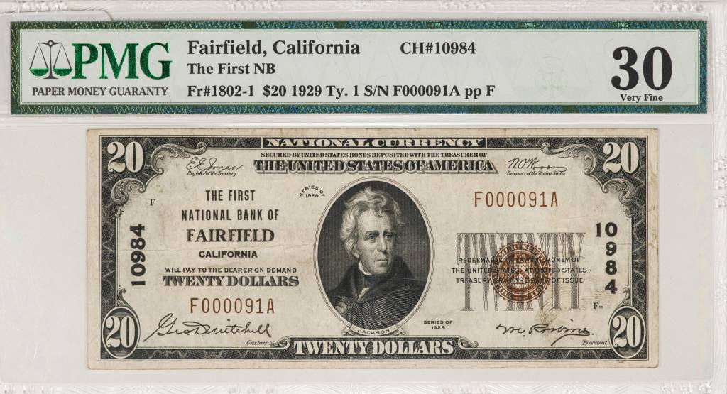 1929 Ty.1 PMG VF30 $20 Farfield California National Bank Note CH#10984