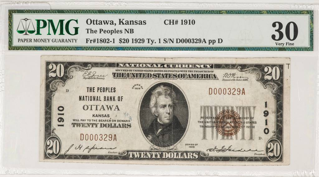 1929 Ty.1 PMG VF30 $20 Ottawa Kansas National Bank Note CH#1910