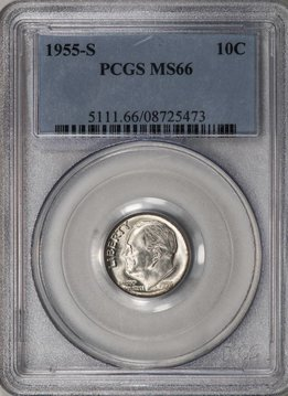 1955 S PCGS MS66 Roosevelt Dime