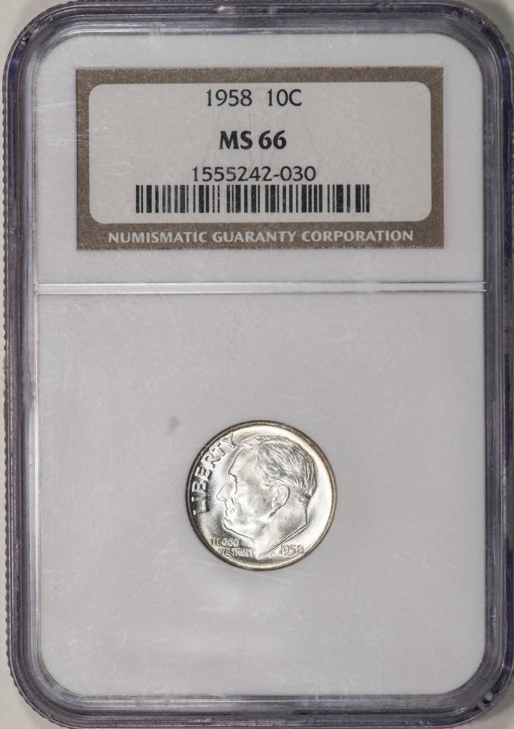 1958 NGC MS66 Roosevelt Dime