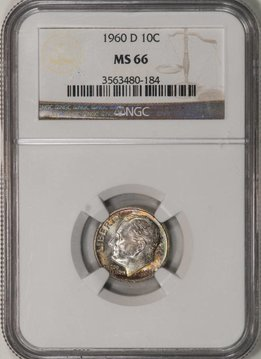 1960 D NGC MS66 Roosevelt Dime