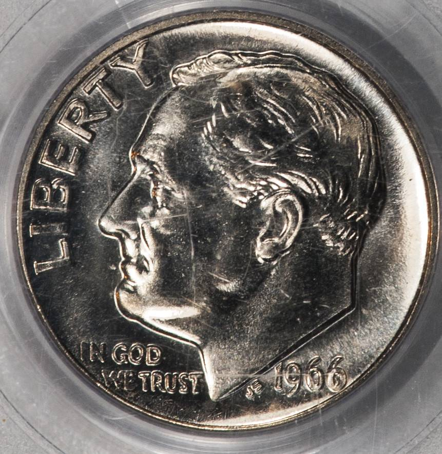1966 PCGS MS66 SMS Roosevelt Dime