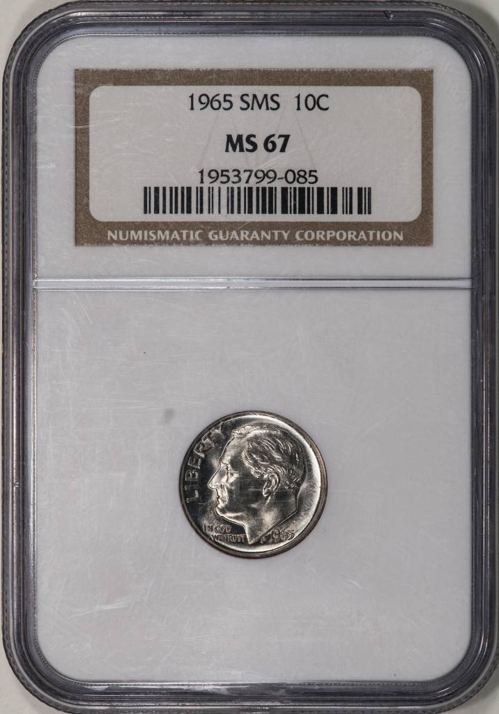 1965 SMS NGC MS67 Roosevelt Dime