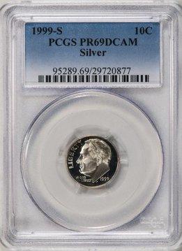 1999 S PCGS PR69 DCAM Silver Roosevelt Dime