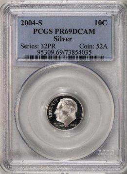 2004 S PCGS PR69 DCAM Silver Roosevelt Dime