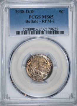 1938 D/D PCGS MS65 Buffalo Nickel RPM2
