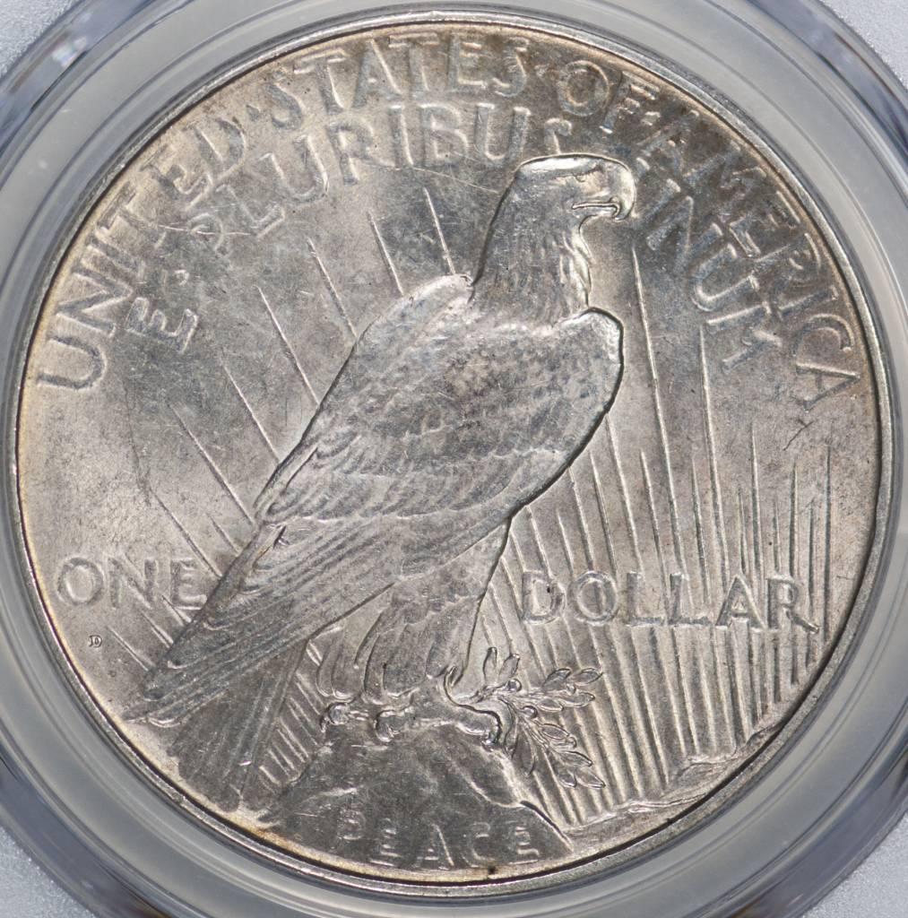 1934 D PCGS Genuine AU Details VAM4 DD OBV Sm D Peace Dollar