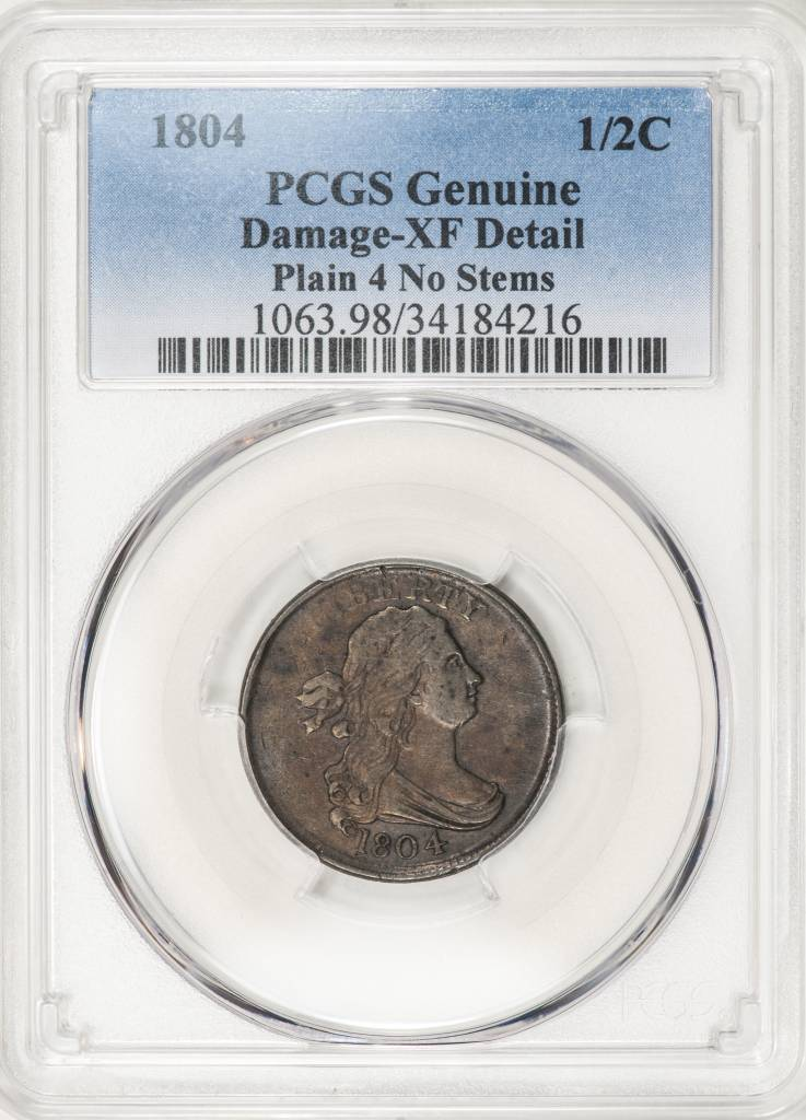1804 PCGS Genuine XF Details Plain 4 No Stems Half Cent