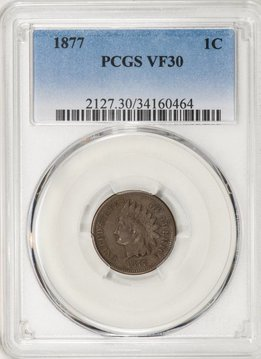 1877 PCGS VF30 Indian Head Cent