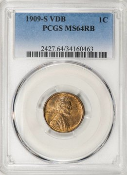 1909 S VDB PCGS MS64RB Lincoln Cent