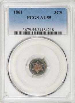 1861 PCGS AU55 Three Cent Silver