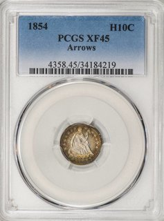 1854 PCGS XF45 Arrows Seated Liberty Half Dime