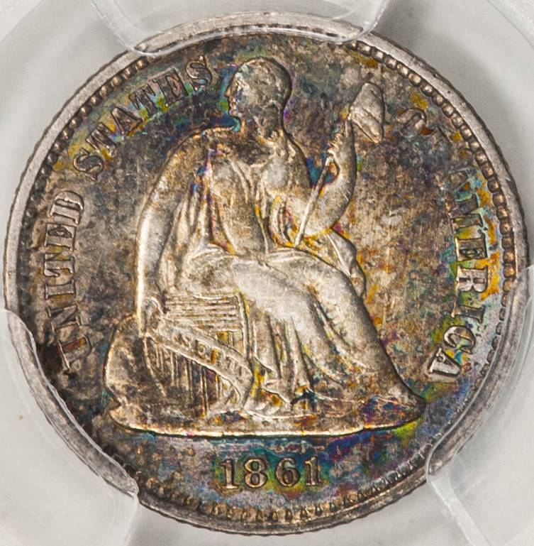 1861 PCGS Genuine Cleaned AU Details Seated Liberty Half Dime
