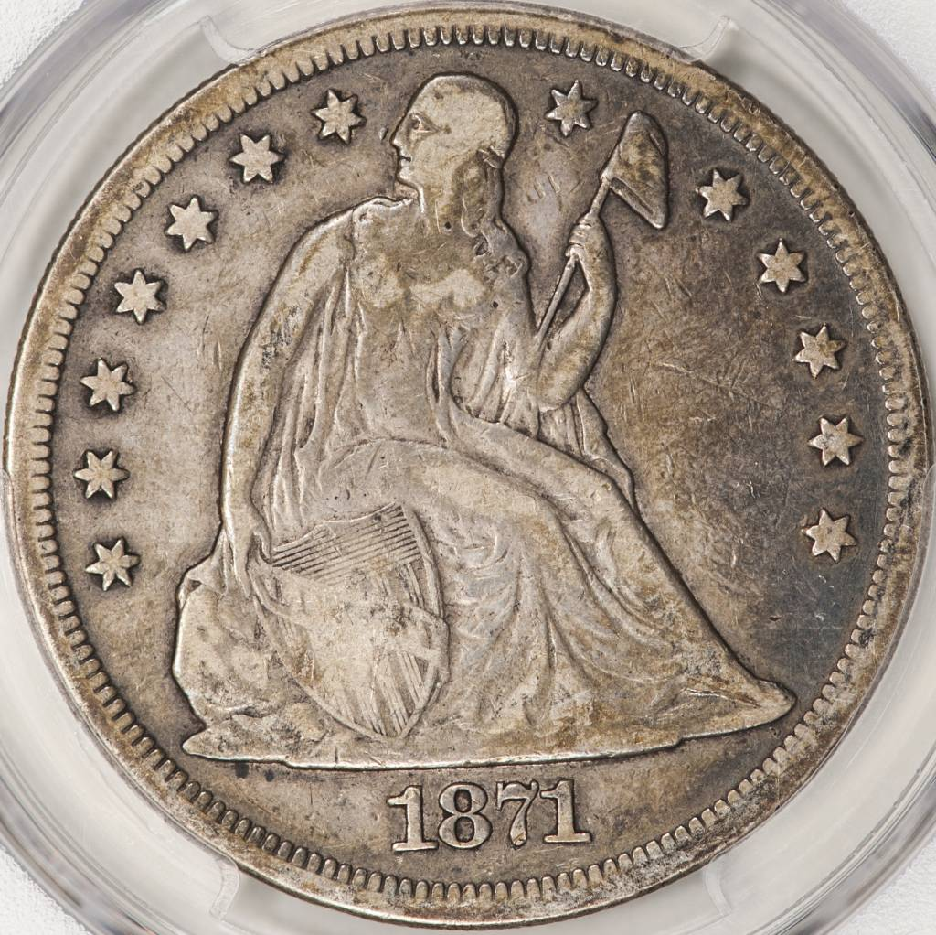 1871 PCGS F15 Seated Liberty Dollar