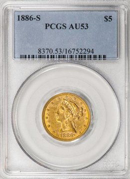 1886 S PCGS AU53 $5.00 Gold Indian Half Eagle