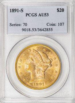 1891 S PCGS AU53 $20 Liberty Double Eagle