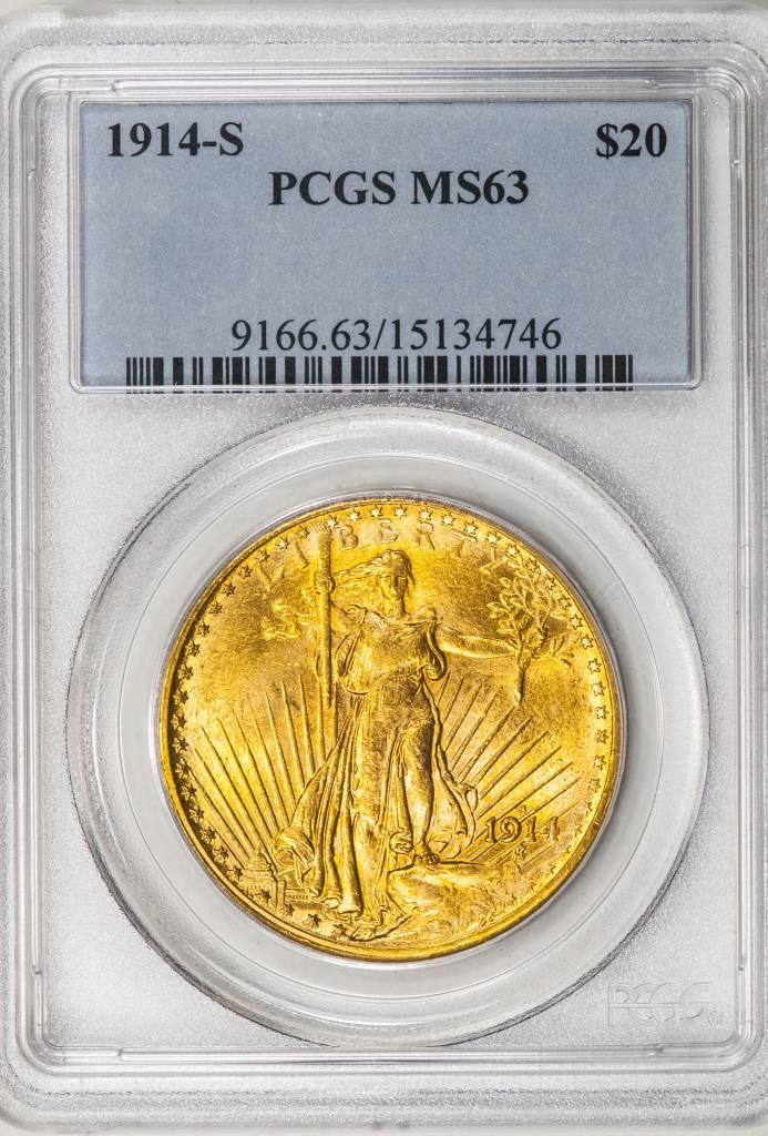 1914 S PCGS MS63 Saint Gaudens Double Eagle