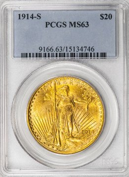 1914 S PCGS MS63 Saint Gaudens Double Eagle