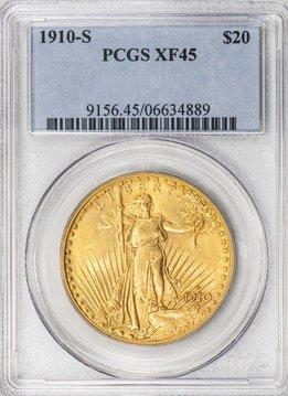 1910 S PCGS XF45 $20 Saint Gaudens Double Eagle