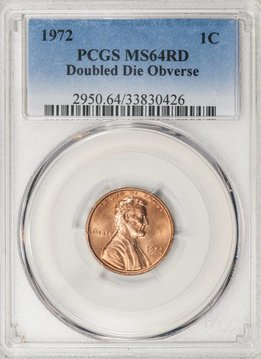 1972 PCGS MS64RD Double Die Obverse Lincoln Cent