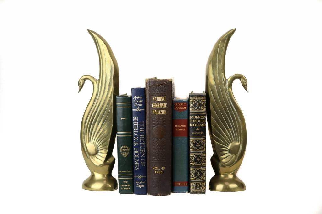 Art Deco Brass Swans