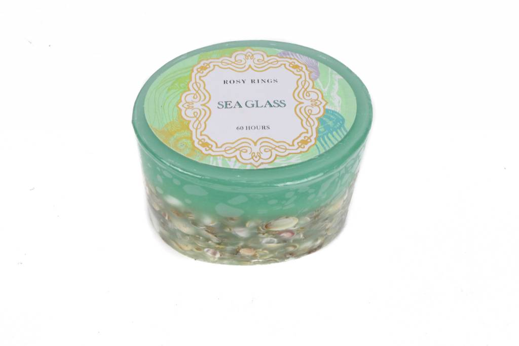 """Rosy Rings Sea Glass 3"""" Candle"""
