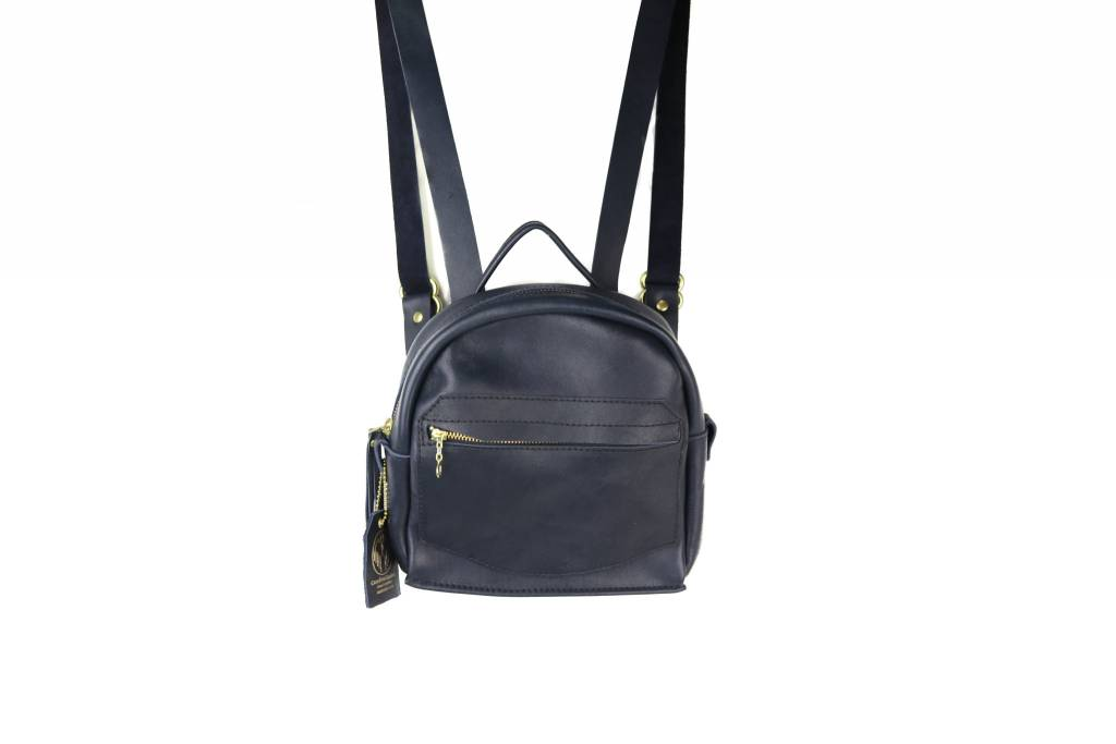 Crossbow Leather Navy Leather Backpack