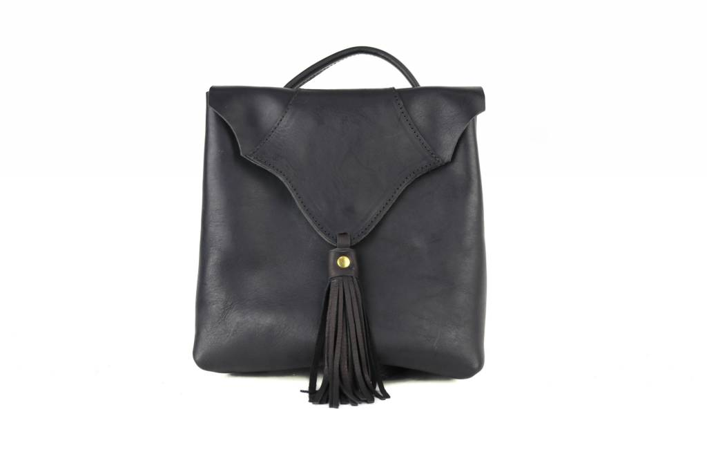 Crossbow Leather Black Purse Backpack