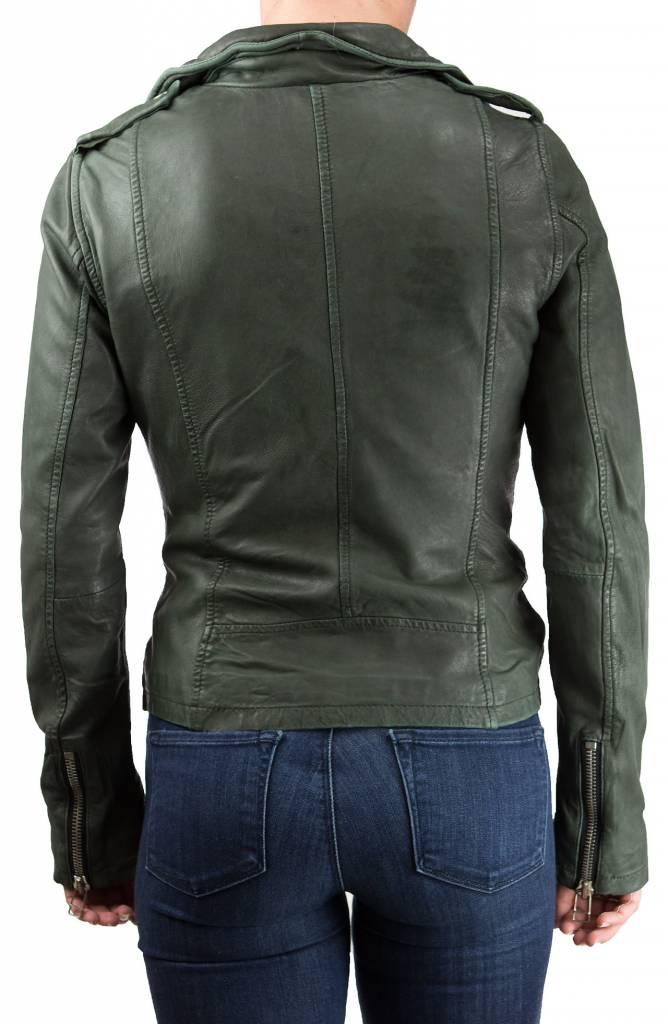 Goosecraft Leaf Green Biker Jacket