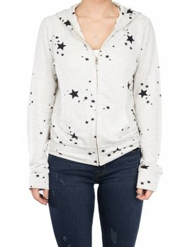 Monrow Zip-up Hoodie with Stars