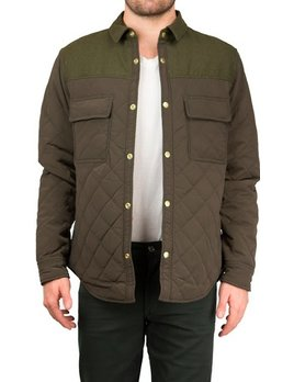 Scotch and Soda Olive Quilted Shirt Jacket