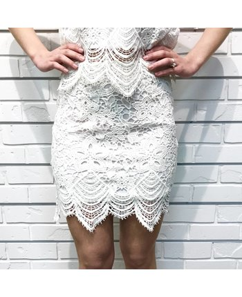 Scalloped Lace Mini Skirt