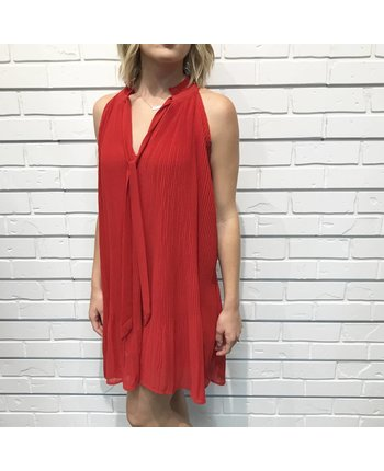 Pleated Tie Neck Dress