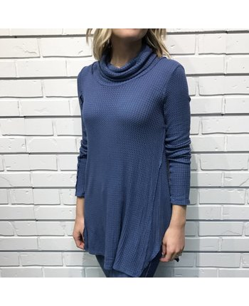 Waffle Knit Cowl Neck Top