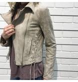 Suede Moto Jacket w/Side Ties