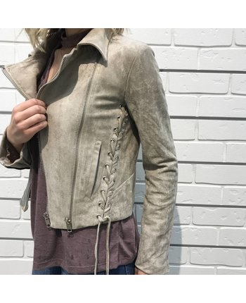 Suede Moto Jacket w/Side Ties