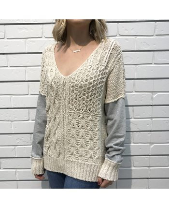 Cable Knit 2 Tone Sweater