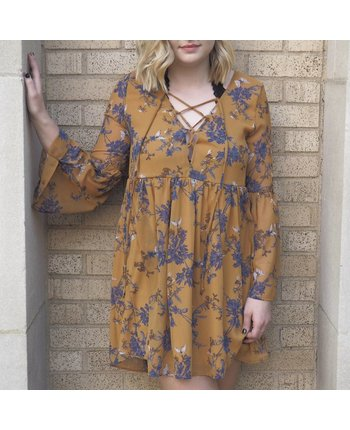 Floral Lace Up Chiffon Dress