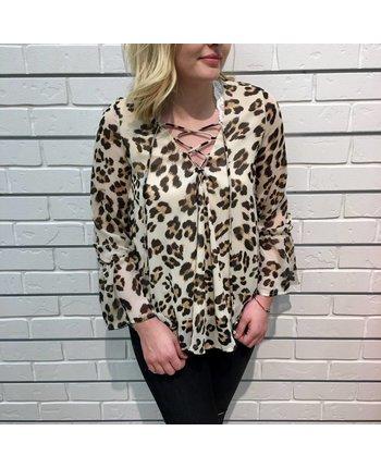Ruffle Leopard Blouse
