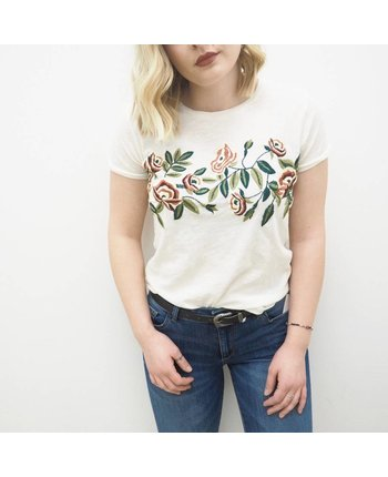 Lucky Brand Rose Embroidered Tee