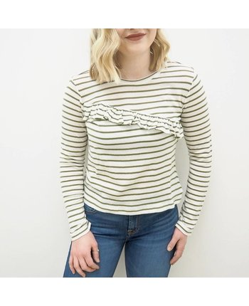Lucky Brand Asymmetrical Ruffle Stripe Top