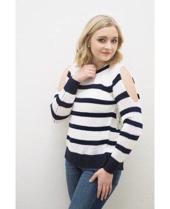 RD Style Keyhole Back Stripe Sweater
