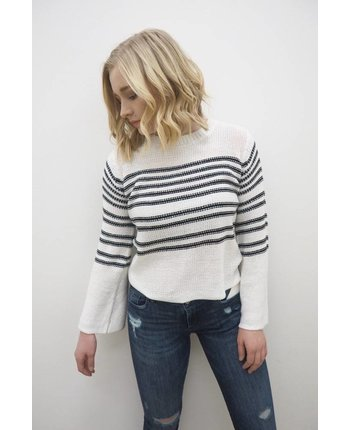 RD Style Bell Sleeve Stripe Sweater