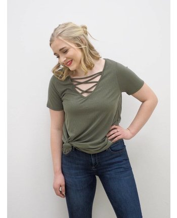 Ribbed Cross Neck Top